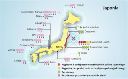 Położenie japońskich elektrowni jądrowych - 2011