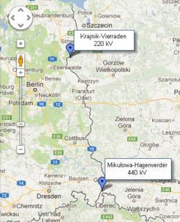 Mikułowa i Krajnik - połaczenia elektroenergetyczne z Niemcami